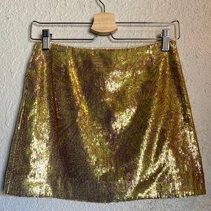 H&M Gold Sequin Mini Skirt NWOT